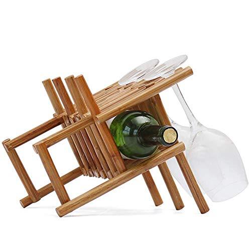 WSJ Weinregal/Weinregal, Rattan, zum Aufstellen, für 1 Flasche und 3 Weingläser, 20,5 x 28,5 x 23 cm, A+