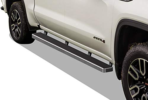 APS iBoard (304 Stainless Steel Polished Silver 5 inches) Running Boards Bars Compatible with 2019-2020 Chevy Silverado GMC Sierra 1500 Crew Cab & 2020 Silverado Sierra 2500 3500(Exclude 19 1500 LD)