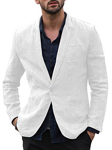 Enjoybuy Mens Linen Tailored Long Sleeve Blazer Casual Two-Button Suit Lightweight Jacket (Medium, One Button-White)