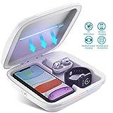 Tooklanet Esterilizador UV para Teléfono Celular Caja de Desinfección UV 3 en 1 UV Esterilizador Práctico Cargador Inalámbrico Multifuncional Desinfectante Portátil para Teléfono iWatch AirPods