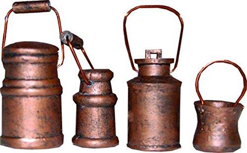 Krippenzubehör, Milchkannen Set Kupfer 4tlg. Höhe ca. 3,7cm / Ø 2,1cm