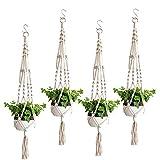 LongcMall Makramee Blumenampel, 4er Set Hängeampel Baumwollseil Blumentopf Hängen, 103cm Pflanzenhalter für Innen Außen Balkone Wand Dekoration - 4 Beine