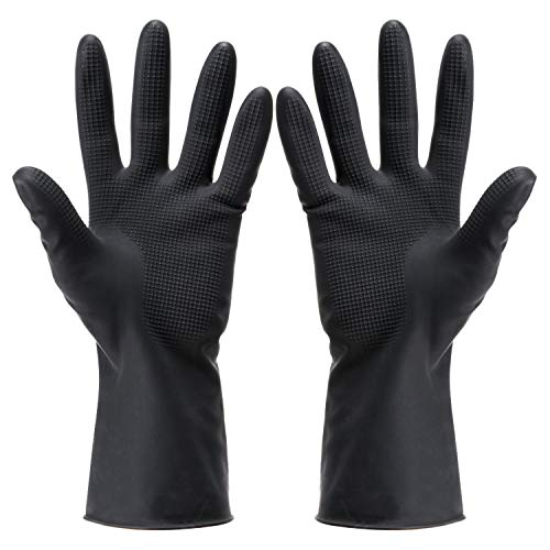 Noverlife 5 Pairs Hair Dye Gloves, Black Reusable Salon Hair Coloring Latex Gloves, Thick Rubber Gloves for Cleaning Cooking Dishwashing