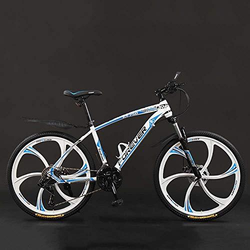Bicicleta, 24 Pulgadas 21/24/27/30 Bicicletas De Montaña, Velocidad Duro De La Cola De La Bicicleta De Montaña, Bicicleta De Peso Ligero Con Asiento Ajustable, Doble Disco De Freno,White blue,27 speed