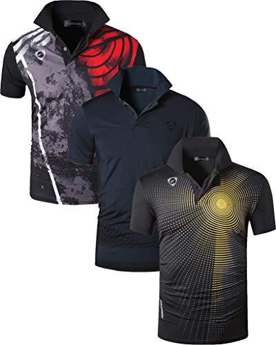 jeansian Herren 3 Stuck Mischen Pack Quick Dry Sport Polo T-Shirt LSL195 MixPackH L
