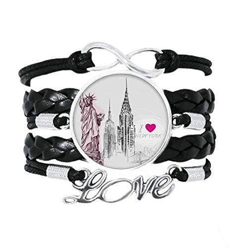 DIYthinker I Love New York Estados Unidos Pais Ciudad Pulsera de Amor Adorno de Cuero Torcido Hilo de muñeca