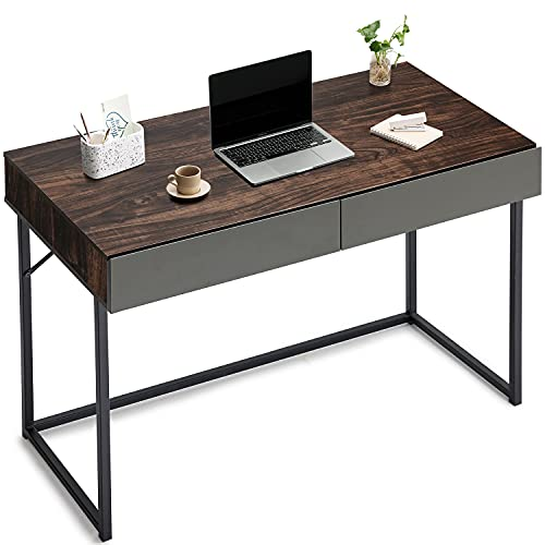 Harmati Computer Desk with Drawers for Storage - 40 Inch Small Home Office Desks for Small Spaces, Modern Simple Writing Study Desk for Students Bedroom (Walnut/Black)