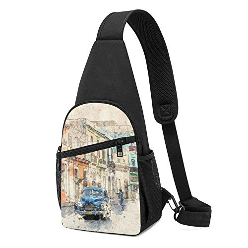 DJNGN Kuba Oldtimer Havanna Altes Auto Schultertasche Crossbody Travel Hiking Chest Daypack