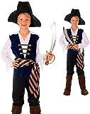 Magicoo karibischer Kapitän Piratenkostüm Kinder Jungen Blau/Braun/Schwarz/Weiß Gr. 110 bis 152 -...