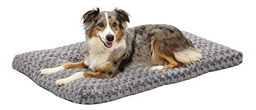 "MidWest Quiet Time Dog Bed & Crate Mat, Deluxe Ombre Swirl, 42"", Gray"
