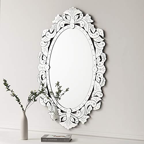 Kohros - Espejo de pared decorativo veneciano con diseño transparente para el hogar, hotel, dormitorio, baño, madera, Plateado, W 27.5