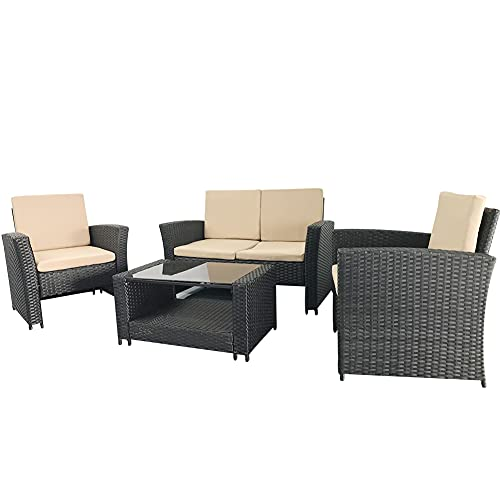 TUOKE Outdoor Black 4 Seater Garden Rattan Furniture Sofa Armchair Set with Cushions And Coffee Table Wicker Weave Conservatory