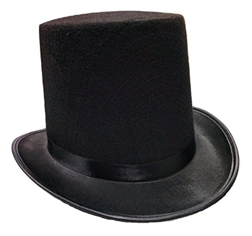 Nicky Bigs Novelties Tall Deluxe Felt Top Hat, Black, One Size