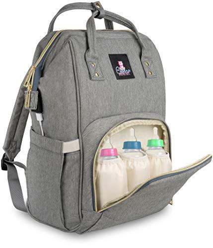 Piepers Babystuff Baby Wickelrucksack – Wickeltasche als Rucksack für unterwegs, mit viel Stauraum und Flaschentasche inklusive Isolationsschutz für die Babyflaschen