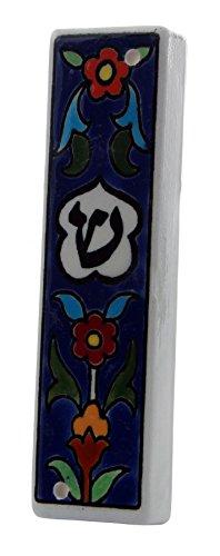 Mesusa-Hülle aus armenischem Porzellan 12 cm Blumen-Motiv Scha-dai Buchstaben Geschenkidee Schutz für das jüdische Heim dekorative jüdische Mitzwa aus Israel