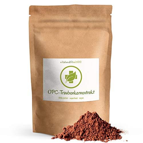 Traubenkernextrakt OPC Pulver - 300 g - aus französischen Traubenkerne gewonnen - Superfood - reines Pulver - 100% vegan & pur - OHNE Hilfs- u. Zusatzstoffe