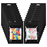 150 Pcs Resealable Mylar Ziplock Bags,Glotoch Double Zipper Smell Proof Bags,Plastic Packaging Foil Bags with Clear Window for Food Party Favors Samples DIY Crafts Lip Gloss,Black (4x6inch)