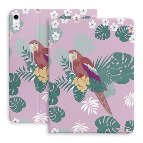 Case For iPad Air 4th Generation Beautiful Tropical Pattern Parrot Leaves Fit iPad Air 4 Case (10.9-Inch, 2020)/fit for iPad Pro 11' 2018 with Pencil Holder,Trifold Stand Smart Case with Soft TPU Bac