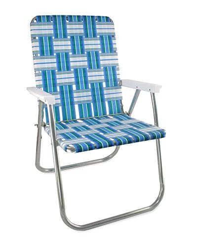 Lawn Chair USA Webbing Chair (Classic, Sea Island with White Arms)