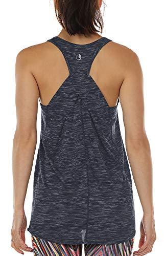 icyzone Camiseta sin Mangas de Suelta Racerback Fitness para Mujer para Yoga Correr -XL-Marina De Guerra Azul