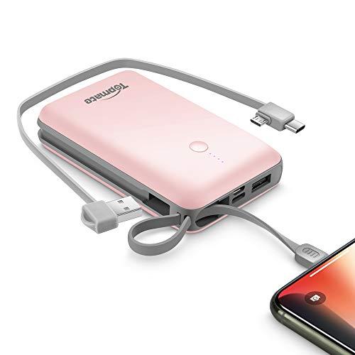 TopMate Mini Caricatore Portatile 10000mAh, Power Bank Cavo, caricabatteria Esterno Integrato iOS e Micro Cavi di Tipo C, Compatibile con iPhone, Android, per iPad - Rosa