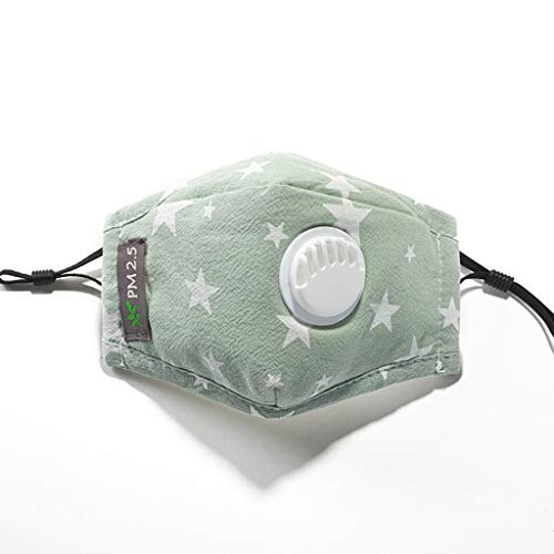 bloatboy Algodón a Prueba de Polvo Reutilizable para niños 𝐌𝐚𝐬𝐜𝐚𝐫𝐢𝐥𝐥𝐚 con filtros Cute Cartoon Design 𝐌𝐚𝐬𝐜𝐚𝐫𝐢𝐥𝐥𝐚 (Verde)