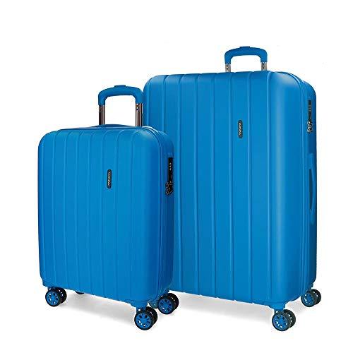 Movom Wood Juego de maletas Azul 55/65 cms Rígida ABS Cierre TSA 111L 4 Ruedas Dobles Equipaje de Mano