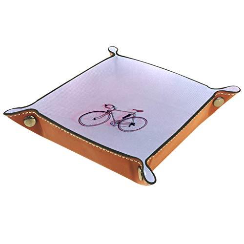 XiangHeFu Bandeja de Cuero Bicicleta Rosa Almacenamiento Bandeja Organizador Bandeja de Almacenamiento Multifunción de Piel para Relojes,Llaves,Teléfono,Monedas