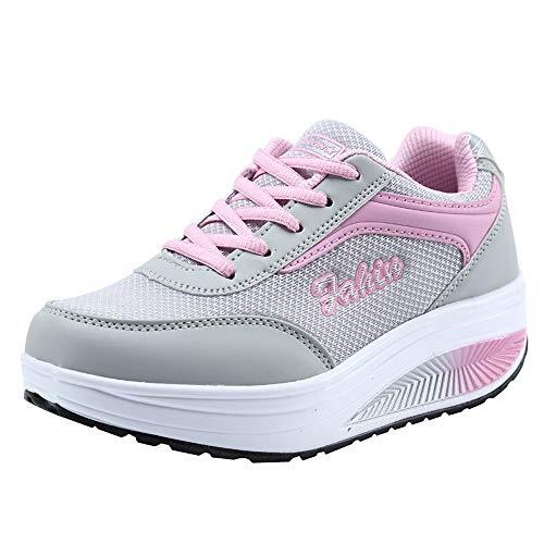 Culater Zapatillas Mujer Moda Malla Zapatos de Aumento de Fondo Suave de Balanceo de Deporte