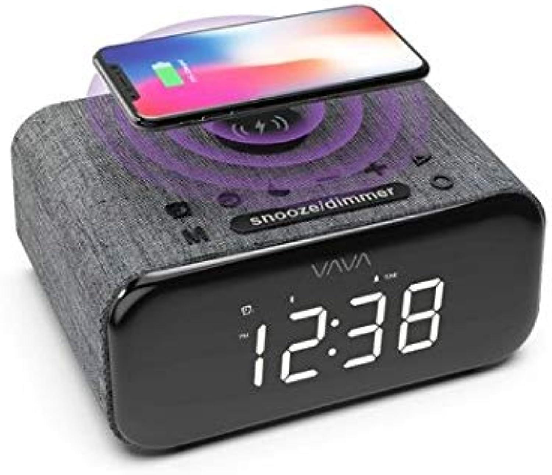 VAVA VOOM 27 (VA-SK008) 5-in-1 blueetooth Speaker, Wireless Charger, Dual Alarm E Clock, FM Radio Stereo Sound, Soft Fabric Finish