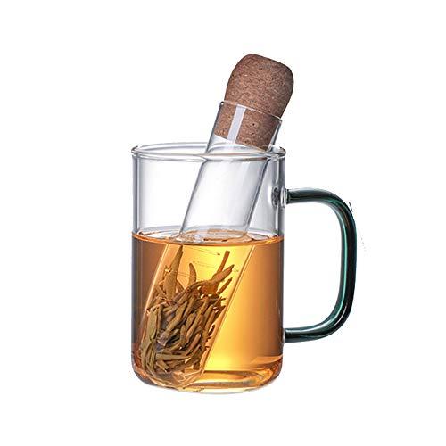 CHUNGEBS Infusor de té, Filtro de infusor de té, Hecho de Madera y Vidrio, diseño de Tubo de ensayo Creativo, Adecuado para Hojas Sueltas o té de Hierbas