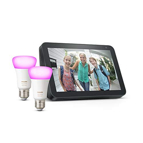 Echo Show 8 - Tessuto antracite +Lampadine intelligenti a LED Philips Hue White & Color Ambiance, confezione da 2 lampadine, compatibili con Bluetooth e Zigbee (non è necessario un hub)
