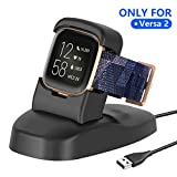 Vergax Charger Dock Station Compatible with Fitbit Versa 2, Anti-Slip Versa 2 Charger Stand Replacement Charging Cable Fit for Fitbit Versa 2 (Black)