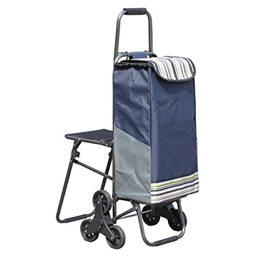 Multi-Fonction Panier Escalier Escalier Chariot/Chariot Pliant/Portable Traction Chariot/Remorque/Tige De Traction Voiture/avec Tabouret Peut S'asseoir/Selles Chariots De Rangement De Tabouret,Bleu
