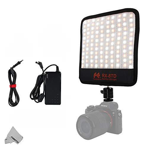 Fomito Falconeyes RX-8TD Foldable Roll-Flex LED Light Kit 3200K-5600K CRI95 Flexible Cloth On-Camera Lamp Daylight Splash-Proof for Video Stuido Photography Lighting