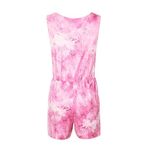 TENDYCOCO Vrouwen Jumpsuit Casual Mode Effen Kleur Korte Jumpsuit Een Stuk Broek voor Vrouwen Dames M Rood