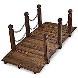 COSTWAY Ponte in Legno da Giardino, Ponte Decorativo per Giardino Piscina Esterna Cortile, Lungo 150 cm, capacità di Carico 181 kg