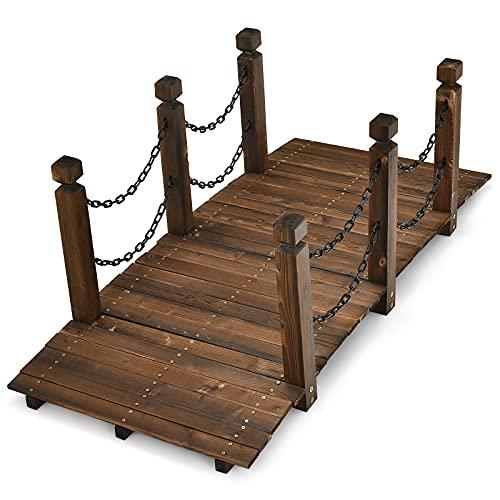 RELAX4LIFE Gartenbrücke mit Geländer & Ketten, Teichbrücke aus Massivholz, Holzbrücke mit Belastbarkeit bis zu 180 kg, 150 x 67 x 55 cm,...