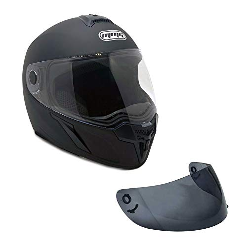 MMG 22 Motorcycle Full Face Helmet DOT Street Legal +2 Visors Comes with Clear Shield and Free Smoked Shield - Medium, Matte Black