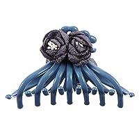 PIXNOR ブルーフラワーレトロヘアクロークリップ用女性ヘアクロージョークランプフラワーバスヘアバレッタヘアクランプ