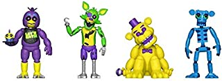 Five Nights at Freddy's Blacklight Action Figures Chica Foxy Golden Freddy Animatronic Skeleton