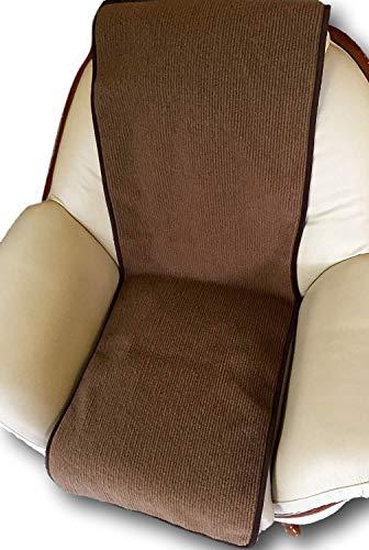 Alpenwolle Jeté de fauteuil aspect vague Chocolat 50 x 200 cm 100 % laine