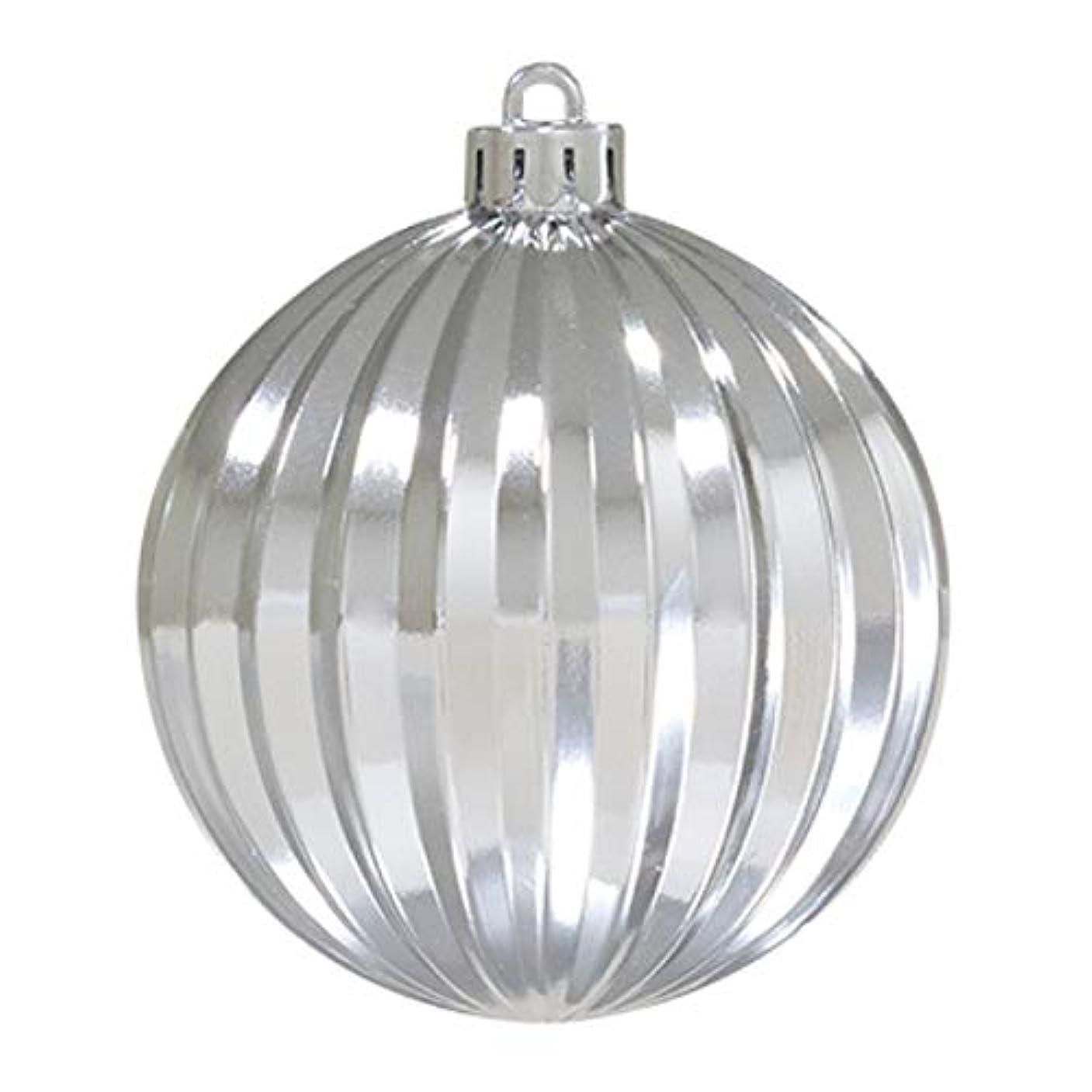 赤字銛委任する80mmストライプボール(4ケ/パック)シルバー(OXM1410SSI)[クリスマス デコレーション 飾り オーナメント ストライプボール ボール 球 玉]