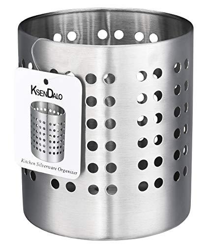"""Utensil Holder Stainless Steel, KSENDALO Silverware Drying Holder,Utility for Kitchen Home and Office, Diameter 4.72""""(L size)"""