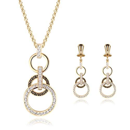 PIXNOR Halskette Ohrringe Set Hochzeit Brautschmuck Set 18K Gold