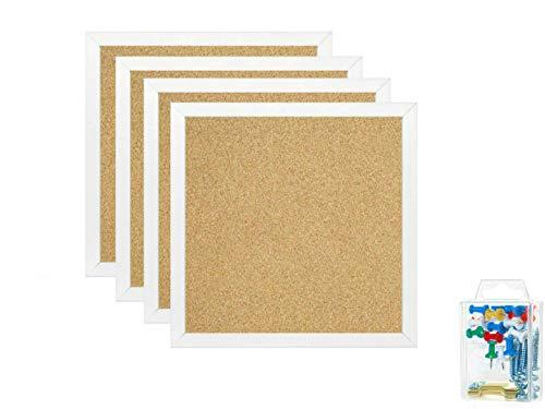"""Bulletin Boards, Mini Wall Modular Elegant Boards 4 Pack Cork Bulletin Board Cork Board 12""""X 12"""" Square Wall Tiles, Modern Black Framed Boards for School, Home & Office (White)"""