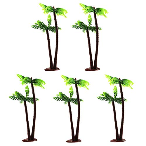 E-outstanding Miniature Coconut Tree 5PCS 13cm Plastic Coconut Palm Trees Mini Plant Pots Bonsai Craft for Micro Landscape Dollhouse Fairy Garden DIY Decor