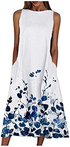 Summer Dresses for Women, Women's Sleeveless Maxi Dress Loose Plain Floral Casual Dress Flowy Long Dress