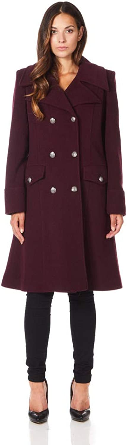 De La Creme Women`s Military Cashmere Wool Winter Coat