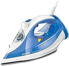 Philips Azur Performer - Plancha de vapor, función anti goteo, 2400 W, 0.3 l, color azur y blanco